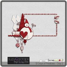 Quality DigiScrap Freebies: Candy-cane Christmas frame cluster freebie from Suzy Q Scraps