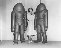 """parkcircus: """" Joan Taylor seems relaxed despite having a hostile alien on each arm in this publicity shot from sci-fi classic Earth vs. the Flying Saucers. Available soon for bookings on digital. Vintage Robots, Retro Robot, Arte Sci Fi, Sci Fi Art, Fiction Movies, Science Fiction Art, Comedy Movies, Fantasy Movies, Sci Fi Fantasy"""