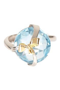 Two-Tone Blue Topaz Bow Tie Ring