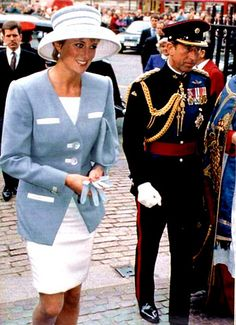 Prince Charles and Princess Diana arriving for a church service at Westminister Abbey. 1992