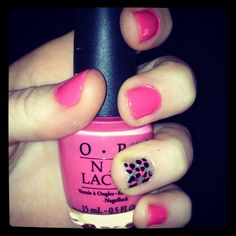 Pink Leopard Nails. Using OPI Elephantastic Pink, OPI Black Onyx, and Essie Silver Bullions.
