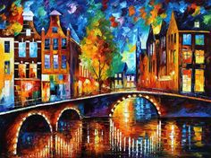 THE BRIDGES OF AMSTERDAM by Leonid Afremov ~ palette knife oil on canvas