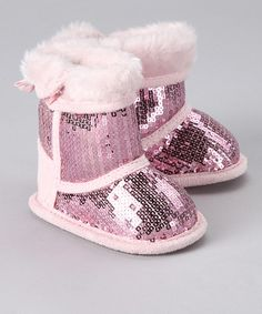 Take a look at this Twin Cities Pink Sequin Faux Fur Bootie by Blow-Out on #zulily today!