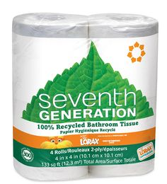 $3.54 for the 100% recycled bathroom tissue from seventhgeneration.com. This recycled toilet paper is a great way to be more eco-friendly.
