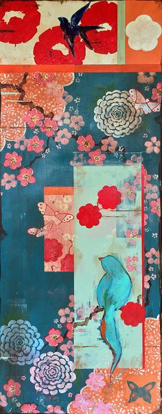"""Kathe Fraga Art, """"When We First Met"""", inspired by the romance of vintage French wallpapers and Chinoiserie with a modern twist. One of two, 40x16 on frescoed canvas. www.kathefraga.com"""