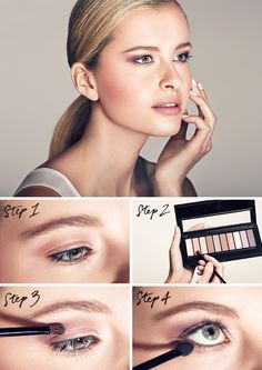 Get the 'Glamour Undercover' look with La Palette Nude: 1. Apply Shade 4 to inner corners of eyes 2. Brush Shade 2 onto eyelids above pupils 3. Frame outer corners of eyes with Shade 5 4. Sweep Shade 3 below bottom lash line