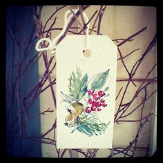 Berries, winter berry design, Hand painted watercolour gift tag by rebecca yoxall, luggage tags, unique, creative gift wrapping, watercolor painting,