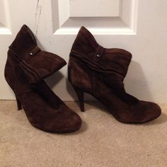 8 1/2 Guess Brown Suede Mis-Calf Boots Brown Suede Guess boots with 4 inch heels. Soles are perfectly intact, no marks or scuffs. Only worn a few times for very short periods. Incredibly Adorable!! Guess Shoes