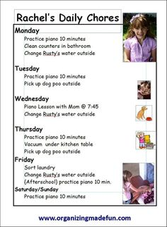 lots of ideas about organizing, cleaning in 15 minutes, kids chore charts, etc.