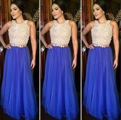 Sange Moda Festa vestido de festa azul bordado pérolas