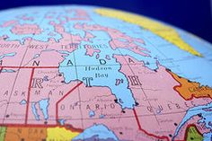 World Map Metal Prints - Global Map Ontario Quebec Metal Print by Donald  Erickson