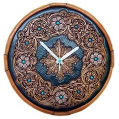 leather western clock   ... leather wall clock (clock). Leather + silver + Turquoise. by Atsushi