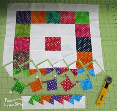 Lil Twister blocks cut and sewed together