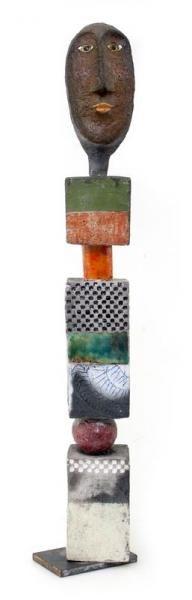 """Roger CAPRON (1922-2006). - Buste. - Totem Raku émaillé. - Pièce unique. -[...], mis en vente lors de la vente """"Art Moderne et Contemporain"""" à Cannes Enchères   Auction.fr"""