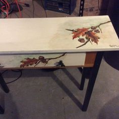 Acrylic fall leaves painted on table I bought for $10.00.