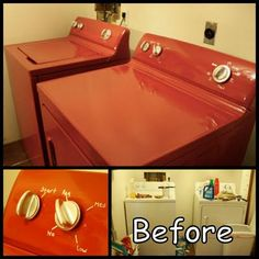 How To Paint & Update Appliances With  Rust-Oleum's Enamel Epoxy Paint ... $10 appliance makeover ......... #DIY #appliance #washer #dryer #dishwasher #refrigerator #howto #tips #repairs #maintenance #crafts: