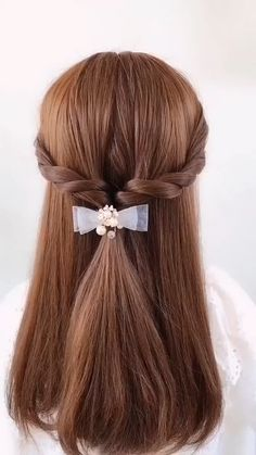 Cute Hairstyles Updos, Kawaii Hairstyles, Easy Hairstyles For Long Hair, Hair Style Vedio, Communion Hairstyles, Front Hair Styles, Hair Arrange, Aesthetic Hair, Hair Videos