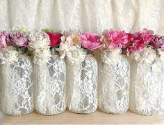 ivory lace covered mason jar vases wedding, bridal shower, tea party table decoration by chandra