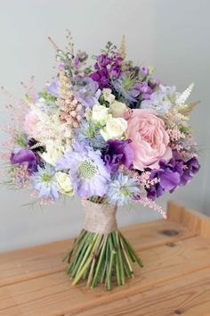 Summer time bouquet, with nigellas, astilbes, garden roses, stocks, sweet peas and delphiniums