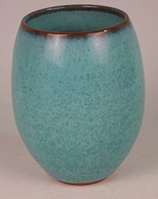 Father Anthony California Studio Art Pottery Vase Aqua