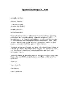 Sponsorship Proposal Letter  Sponsorship Proposal Letter Template