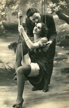 The Swing ~ 1920s Biederer naughty postcard