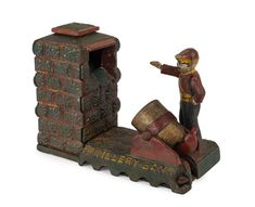 ARTILLERY BANK Mechanical Bank money box, painted cast iron, 15cm high / MAD on Collections - Browse and find over 10,000 categories of collectables from around the world - antiques, stamps, coins, memorabilia, art, bottles, jewellery, furniture, medals, toys and more at madoncollections.com. Free to view - Free to Register - Visit today. #MoneyBanks #MADonCollections #MADonC