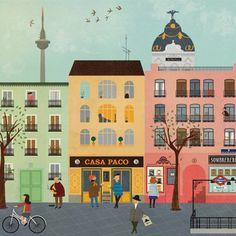 Madrid illustration for Air BnB by Blanca Gómez