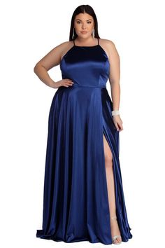Plus Gabrielle Formal High Slit Satin Dress – Windsor Plus Prom Dresses, Plus Size Formal Dresses, Satin Dresses, Plus Size Outfits, Cute Dresses, Bridesmaid Dresses Under 100, Bridesmaid Dresses Plus Size, Dress For Chubby Ladies, Plus Size Fashion For Women