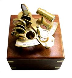 """ROSS LONDON 6/"""" Brass Astrolabe Sextant W//Decorative Wooden Box Nautical Sextant"""