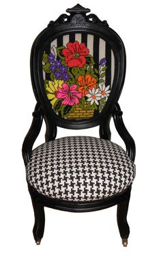 Ornate Oval Back Chair – FleaPop - Love this contrast of houndstooth and floral on the black frame of the chair!