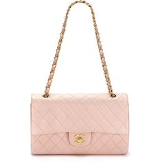 Chanel Pink/Peach Quilted Lambskin Leather Large 2.55 Double Flap Bag ❤ liked on Polyvore
