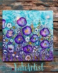 Sue - pic for inspiration - work of art by Yaki . bright and beautiful flowers in purple and turquoise . looks like alcohol inks on white ceramic tile . sharpie on canvas with rubbing alcohol Résultats de recherche d'images pour « how to paint with alco Alcohol Ink Tiles, Alcohol Ink Crafts, Alcohol Ink Painting, Rubbing Alcohol, Action Painting, Painting & Drawing, Colour Drawing, Graffiti Art, Watercolor Paintings