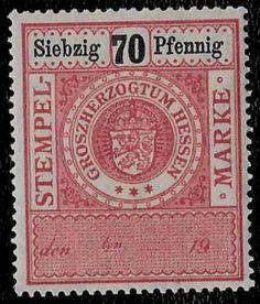 1900-Hessen-German-States-Arms-Crown-Lion-Revenue-Bob-70pf-MNH