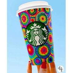 Starbucks Cup Art — Vibrant flowers designed by Daniela Hoyos.