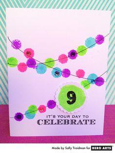 Use Hero Arts Ink Daubers to create fun and colorful birthday cards. #HeroArts