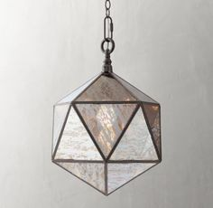 RH TEEN's Noa Faceted Pendant - Pewter:Angular accents. Our faceted pendant is crafted of a metal frame set with mirrored, antiqued glass panes in a vintage-inspired finish.