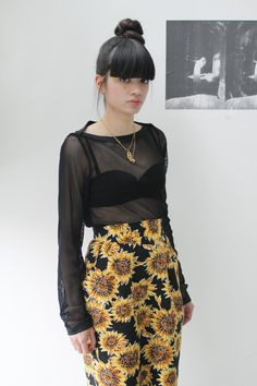 Yes love the floral print skirt with mesh top and bra.  Super hot I think I would of made this look more messy though x