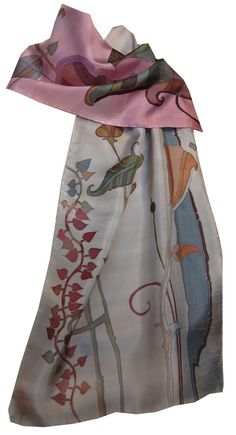 Silk Scarf Hand Painted Floral Duet in от FineArtSilkScarves