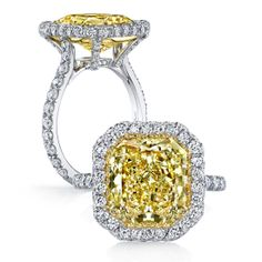RAYNI is a custom, traditionally handcrafted Jean Dousset Diamonds signature diamond engagement ring design - JeanDousset.com – shown with Fancy Intense Yellow Radiant cut diamond.