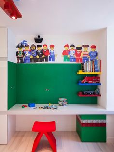 Fabulous Lego Storage Cube  For Your Room Inspirations: Awesome Design With Great Desk And Unique Chairs Combined With Unique Lego Pendant Lamp And Perfect Lego Ornament ~ jobonline33.com Bedroom Inspiration