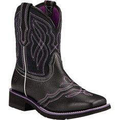 Women's Ariat Ranchbaby II Cowgirl Wide Square Toe Boot - Black/Purple Full Grain Leather with FREE Shipping & Exchanges. Go riding in the Ariat Ranchbaby II Cowboy Boot. It is the perfect blend of