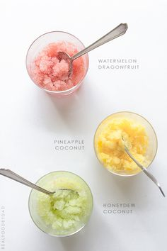 Fruit Granitas with Real Food by Dad. Coconut water instead of that stuff? Add stevia if needed?