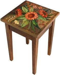 Smell the Flowers End Table by Sticks (Wood Side Table) Whimsical Painted Furniture, Bohemian Furniture, Hand Painted Furniture, Funky Furniture, Paint Furniture, Furniture Makeover, Recycling Furniture, Patterned Furniture, Furniture Design