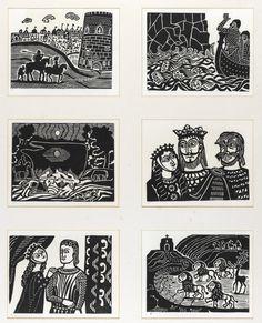 Morte D'Arthur by Edward Bawden. Linocut