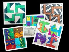 TURN, SLIDE, FLIP – the math words used when working with geometric shapes. Turn & rotate are essentially the same thing, so we decided to use our first initials with any choice of shape behind it to create these cool works of art. Students drew their initial image in the first square, traced it, and turned the initial in each of the remaining squares.
