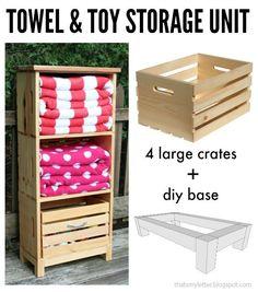 diy poolside storage unit using crates