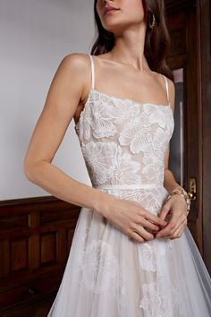 Made from delicate tulle, this dreamy gown is replete with romantic touches. Our favorites? Oversized floral embroidery, an airy overskirt, and a scattering of clear sequins for subtle sparkle. Bridal Outfits, Bridal Dresses, Prom Dresses, Bridesmaid Dresses, Bar Outfits, Vegas Outfits, Fitted Dresses, Event Dresses, Club Outfits