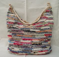 Bag ETHNO HIPPIE BOHO Crocheted multicolor Yarn color blends cotton .
