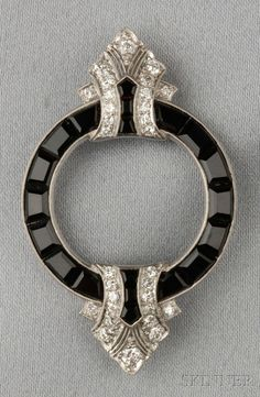 Art Deco Platinum, Onyx, and Diamond Brooch